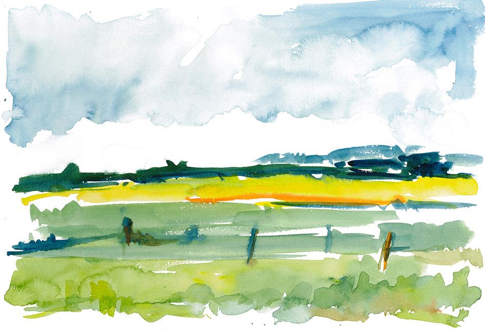 2009-07-27_Tarp (Holsteinische Landschaft)_290x210_Aquarell