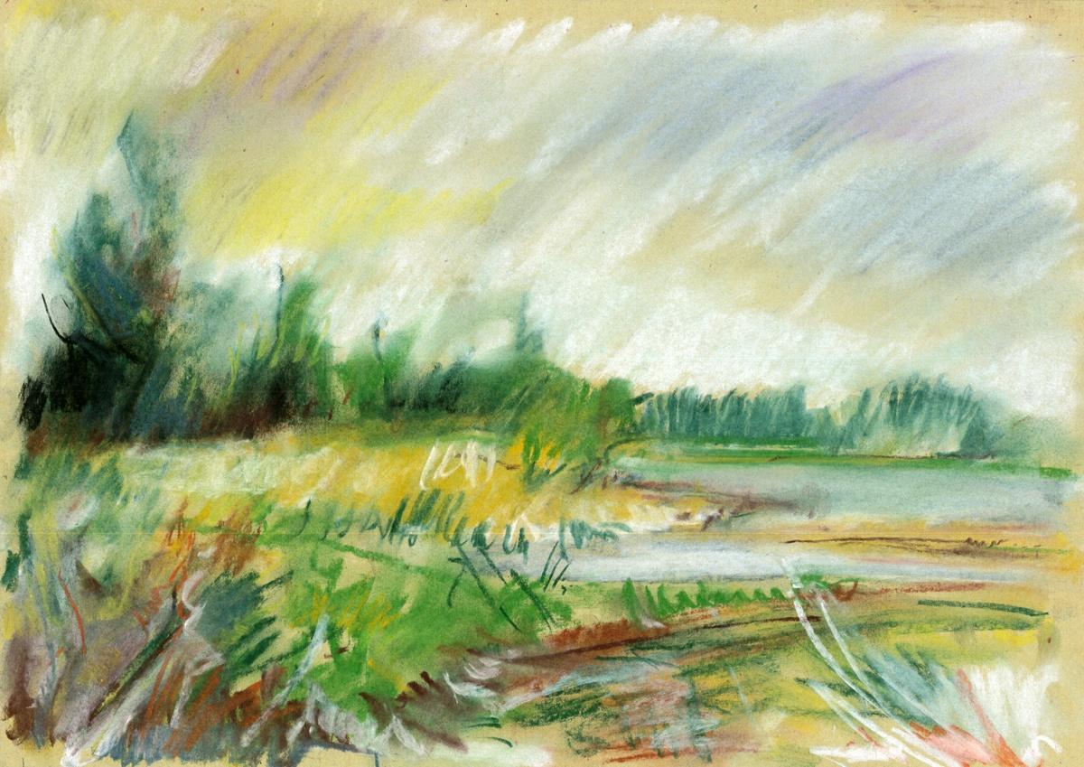 23_1994-08-21_MD_An der Elbe (Höhe ehem. Schleusentore)_420x300_Pastellkreide (Scan)